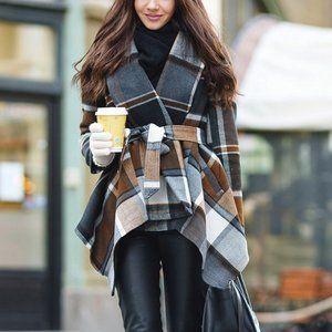Plaid Turn Down Collar Wool Coat